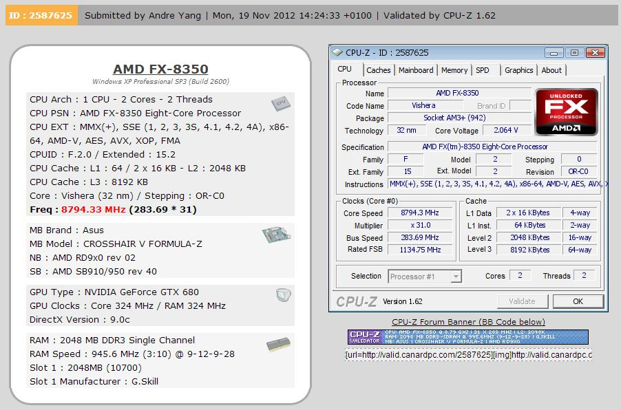 Новый рекорд: AMD FX-8350 был разогнан до 8.79 ГГц