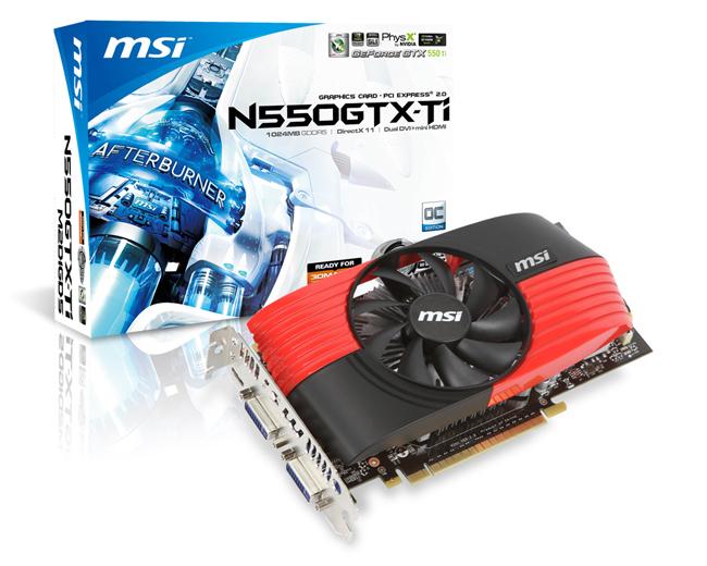 видеокарта MSI N550GTX-Ti-M2D1GD5/OC DDR5