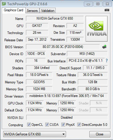 Спецификации GTX 650 Ti от MSI